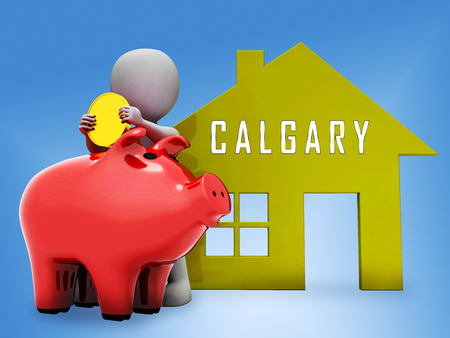 Calgary Real Estate Piggybank Shows Property For Sale Or Rent In Alberta. Investment Agents Or Brokers Symbol 3d Illustration 스톡 콘텐츠