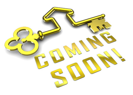 Coming Soon Key Shows Upcoming Real Estate Property Available. Realty Ownership Project Upcoming - 3d Illustration 스톡 콘텐츠