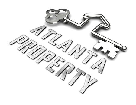 Atlanta Real Estate Key Shows Property Investment In Georgia. United States Housing Market 3d Illustration Imagens