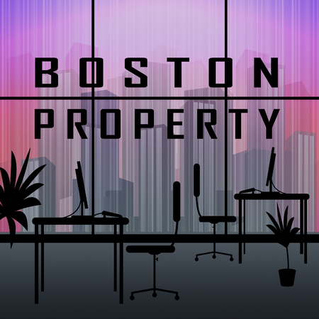Boston Property Apartment Shows Real Estate In Massachusetts Usa. Housing Purchase Or Realty Rental 3d Illustration
