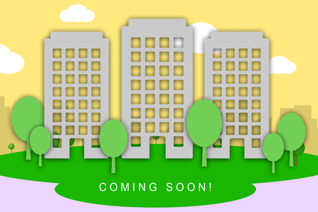Coming Soon Apartment Shows Upcoming Real Estate Property Available. Realty Ownership Project Upcoming - 3d Illustration