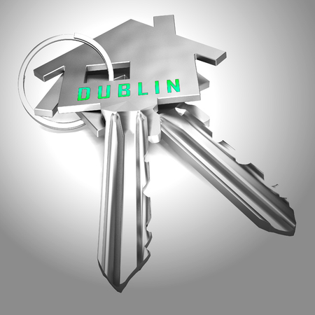 Dublin Apartments Keys Depicts Irish Condo Real Estate Buying. Property Available In Eire Location - 3d Illustration
