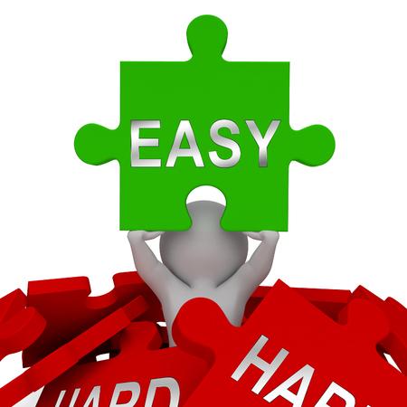 Easy Vs Hard Jigsaw représente le choix de manière simple ou difficile. Guide pour choisir le meilleur chemin futur - Illustration 3d