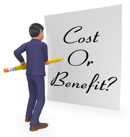 Cost Vs Benefit Note Means Comparing Price Against Value. Return On Investment Or Balancing Gain - 3d Illustration