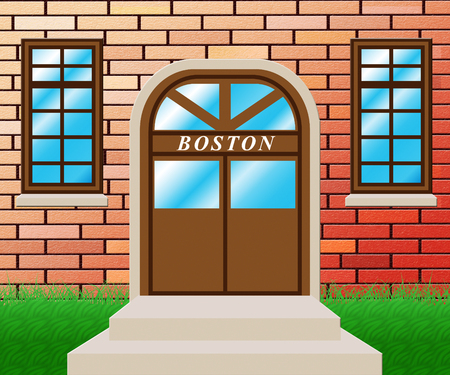 Boston Property Door Shows Real Estate In Massachusetts Usa. Housing Purchase Or Realty Rental 3d Illustration
