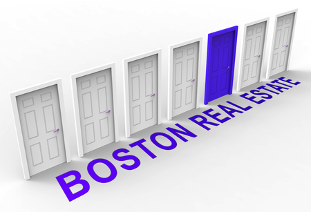Boston Real Estate Doorways Represent Property In Massachusetts. Houses And Apartments In The United States 3d Illustration 写真素材