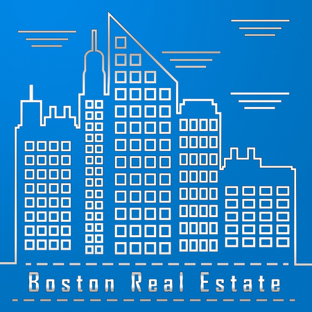 Boston Real Estate City Represents Property In Massachusetts. Houses And Apartments In The United States 3d Illustration 写真素材