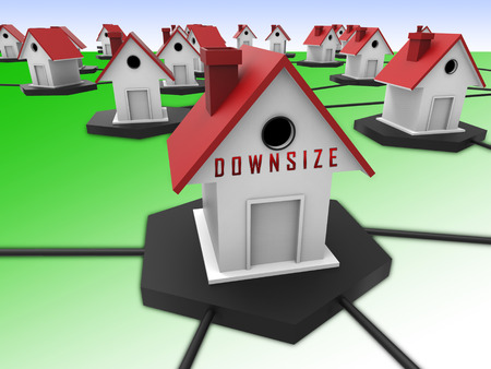 Downsize Home Symbol Means Downsizing Property Due To Retirement Or Budget. Find A Tiny House Or Apartment - 3d Illustration