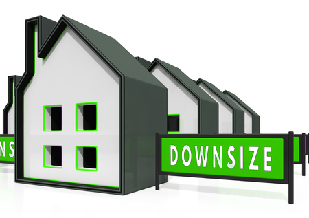Downsize Home Icons Means Downsizing Property Due To Retirement Or Budget. Find A Tiny House Or Apartment - 3d Illustration Stock Photo