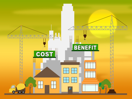 Cost Vs Benefit Construction Means Comparing Price Against Value. Return On Investment Or Balancing Gain - 3d Illustration
