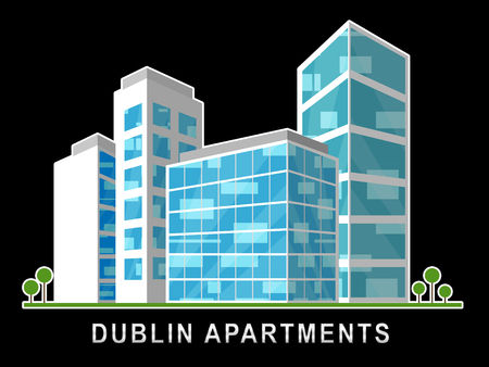 Dublin Apartments Image Depicts Irish Condo Real Estate Buying. Property Available In Eire Location - 3d Illustration Stock Photo