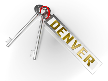 Denver Real Estate Keys Illustrates Colorado Property And Investment Housing. Realty Purchasing And Selling - 3d Illustration Фото со стока