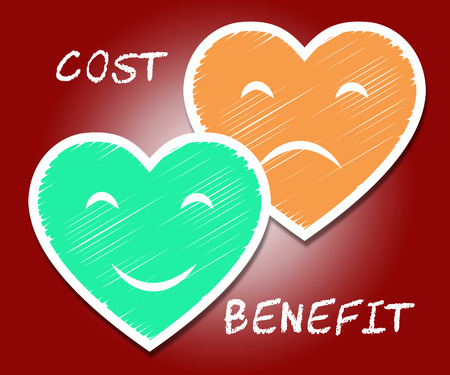 Benefit Versus Cost Hearts Means Value Gained Over Money Spent. Calculation Is Earnings Vs Expense - 3d Illustration Stock Photo