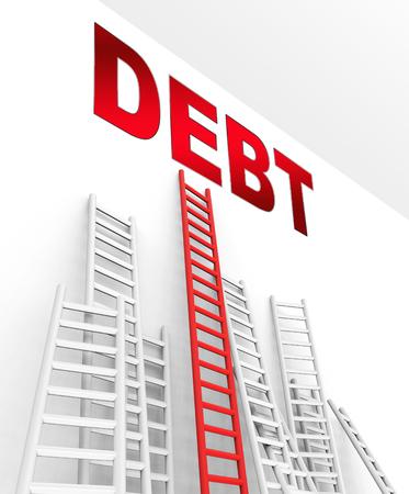 Debt Ceiling Finance Ladders Shows Banking Upper Limit. Federal Or National Money Management - 3d Illustration