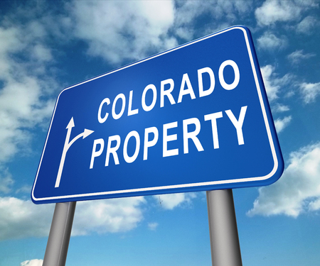 Colorado Property Sign Represents Real Estate Or Purchasing Investment. United States Realty Developments - 3d Illustration