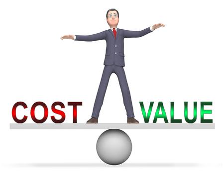 Cost Vs Value Businessman Denotes Return On Investment Roi. Spending And Expenses Versus Net Profit - 3d Illustration