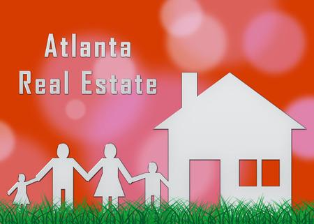 Atlanta Real Estate Family Shows Property Investment In Georgia. United States Housing Market 3d Illustration Stock Illustration - 119299189