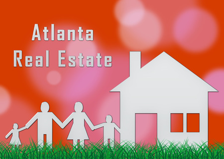 Atlanta Real Estate Family Shows Property Investment In Georgia. United States Housing Market 3d Illustration