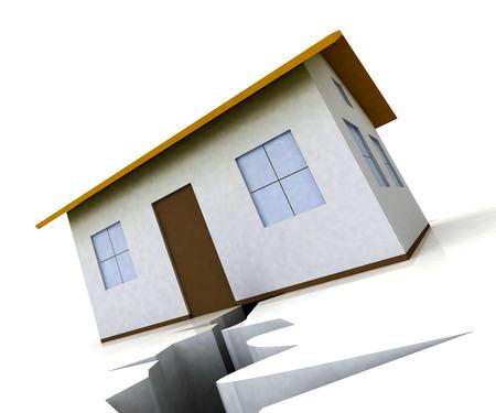 Divorce House Split House Depicts Legal Sharing Of Property After Divorcing. Justice Or Lawsuit Settlement Shows How To Beak Up Assets - 3d Illustration