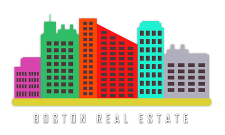 Boston Real Estate Apartments Represent Property In Massachusetts. Houses And Apartments In The United States 3d Illustration