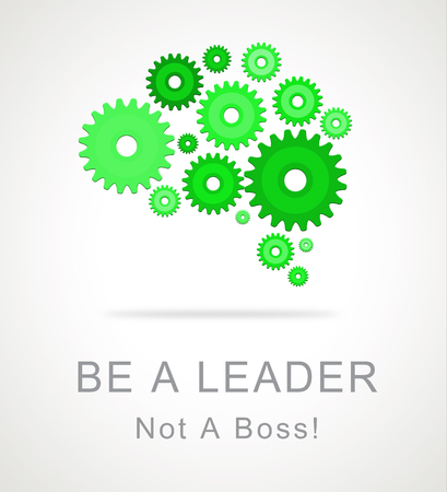 Boss Vs Leader Icon Means Leading A Team Better Than Managing. Encouraging Confident Strategy And Strong Concepts 3d Illustration Foto de archivo