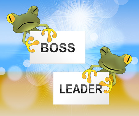 Boss Vs Leader Frogs Mean Leading A Team Better Than Managing. Encouraging Confident Strategy And Strong Concepts 3d Illustration Stock Photo