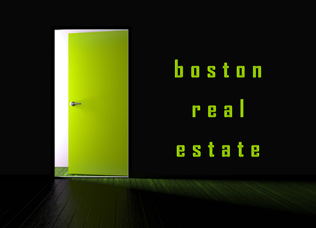 Boston Real Estate Doorway Represents Property In Massachusetts. Houses And Apartments In The United States 3d Illustration