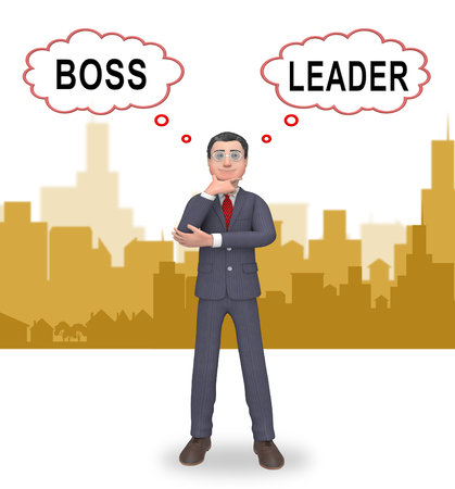 Boss Vs Leader Thinking Means Leading A Team Better Than Managing. Encouraging Confident Strategy And Strong Concepts 3d Illustration