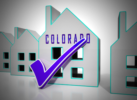 Colorado Property House Represents Real Estate Or Purchasing Investment. United States Realty Developments - 3d Illustration