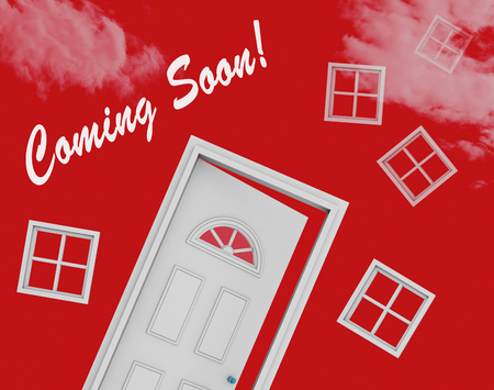 Coming Soon Door Shows Upcoming Real Estate Property Available. Realty Ownership Project Upcoming - 3d Illustration
