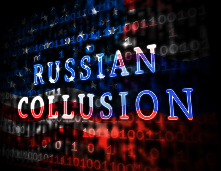 Russian Collusion During Election Campaign Data Means Corrupt Politics In America 3d Illustration. Conspiracy In A Democracy Allows Blackmail Or Fraud