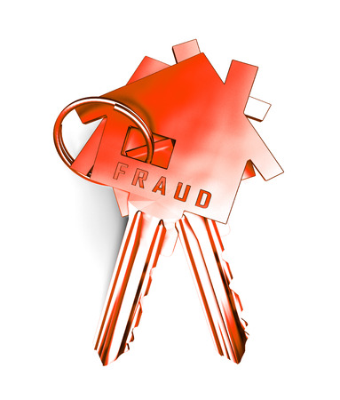 Mortgage Fraud Keys Represents Property Loan Scam Or Refinance Con. Fraudster Doing Hoax For Finance Or Equity Release - 3d Illustration