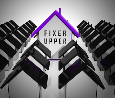 Fixer Upper House Icon Shows Rundown Derelict Building Needing Renovation And Fixing Up - 3d Illustration