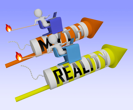 Myth Vs Reality Rockets Demonstrating Authenticity Versus False Facts. Integrity And Honesty Compared With Lies - 3d Illustration