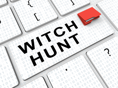 Witch Hunt Key Meaning Harassment or Bullying To Threaten Or Persecute 3d Illustration. Deep State Trying To Harass The President