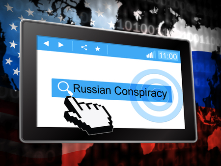 Russian Conspiracy Scheme Tablet. Politicians Conspiring With Foreign Governments 3d Illustration. Complicity In Crime Against The Usa Stock Photo