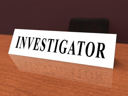 Investigation Nameplate Depicting Federal Bureau Scrutiny And Analyzing Suspicious Suspect 3d Illustration. Investigator Of Murder Or Crime Imagens - 120354064