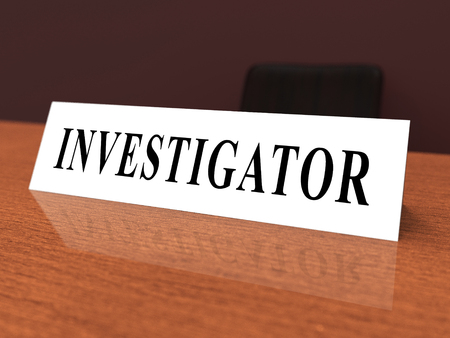 Investigation Nameplate Depicting Federal Bureau Scrutiny And Analyzing Suspicious Suspect 3d Illustration. Investigator Of Murder Or Crime