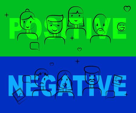 Positive Vs Negative Words Depicting Reflective State Of Mind. Motivation And Optimism Versus Pessimism - 3d Illustration Stock Photo