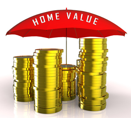 Home Value Report Coins Demonstrates Pricing Property For Mortgages Or Purchase. House Valuation Survey And Guide - 3d Illustration
