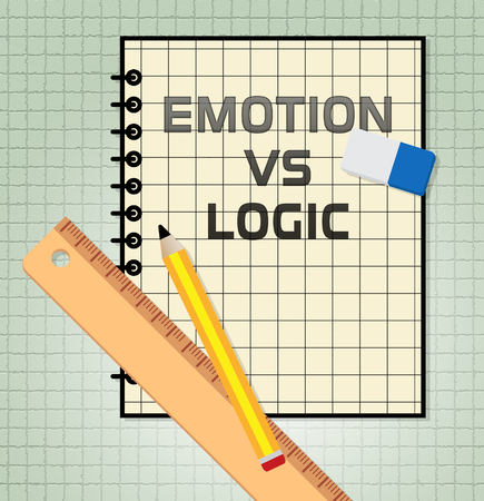Emotion Versus Logic Report Illustrates The Difference Between Head And Heart. The Mind Deals With Rational Thinking, Imagination And Feelings - 3d Illustration