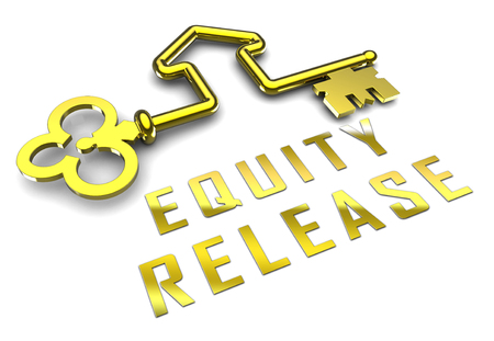 Equity Release Key Means A Line Of Credit From Owned Property. For Income In Retirement Or Cash From Home - 3d Illustration