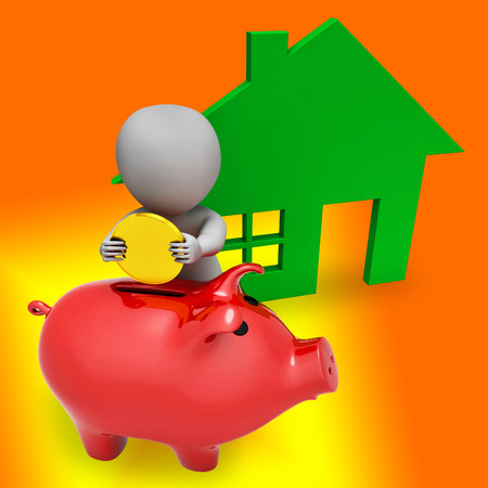 Home Value Report Piggybank Demonstrates Pricing Property For Mortgages Or Purchase. House Valuation Survey And Guide - 3d Illustration