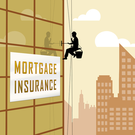 Private Mortgage Insurance City Depicting House Or Apartment Coverage. Property Indemnity And Life Assurance - 3d Illustration Stock fotó