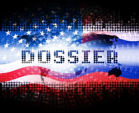 Bandiera di dossier sporco contenente informazioni politiche sull'illustrazione 3d del presidente americano. Dati investigativi dallo spionaggio in Russia