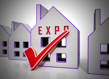 Real Estate Expo Icon Depicting Property Exhibition For Buyers. Trade Fair For Housing Purchase And Rentals - 3d Illustration