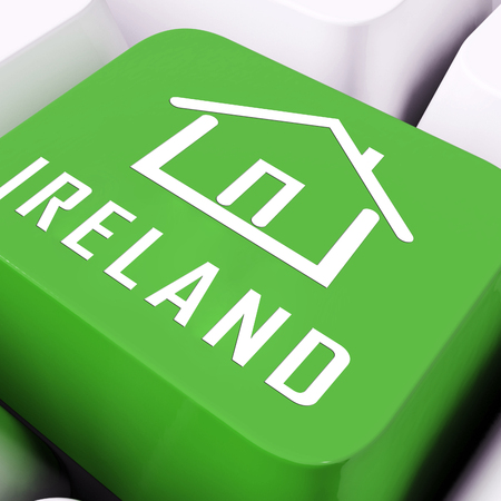 Ireland Property Or Real Estate Key Depicts Buying Or Renting. Realty And Development In Eire - 3d Illustration