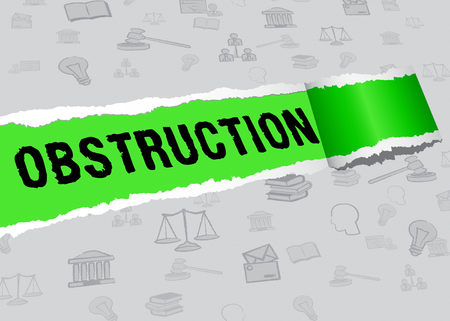 Obstruction Of Justice And Corruption Paper Meaning Impeding A Legal Case 3d Illustration. Hindering The Process Of Law