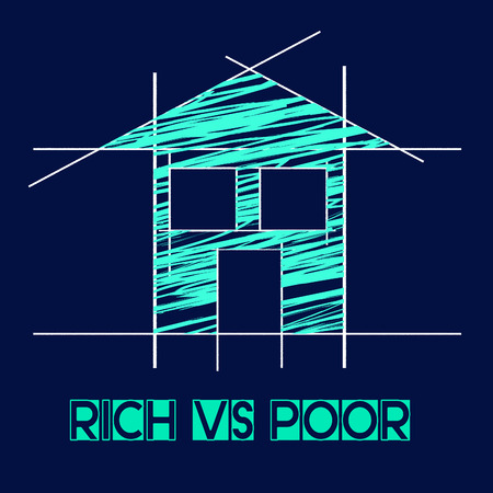 Rich Vs Poor Wealth House Meaning Well Off Against Being Broke. Inequality And Injustice Of Life And Money - 3d Illustration Фото со стока