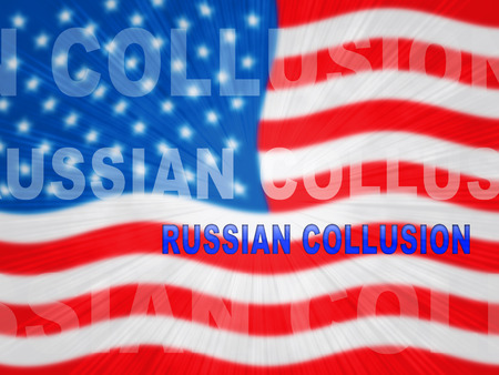 Russian Collusion During Election Campaign Means Corrupt Politics In America 3d Illustration. Conspiracy In A Democracy Allows Blackmail Or Fraud